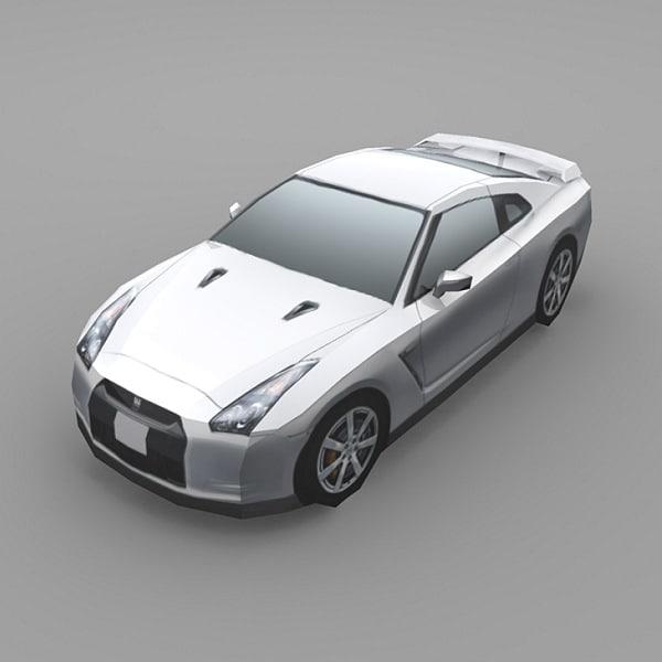 3d car nissan gt-r model