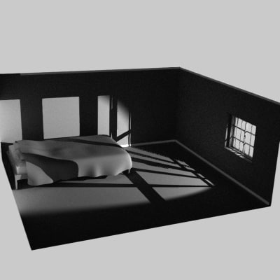 small room window bed 3d model