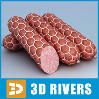 3d sausage meat food model