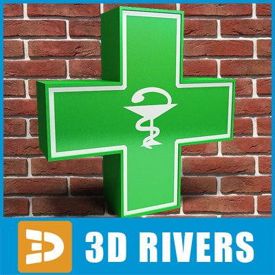 3d green cross pharmacy signboard model