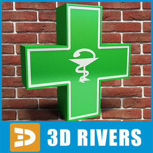3d green cross pharmacy signboard model
