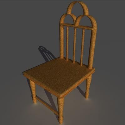 wood chair 3d c4d