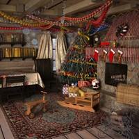 3d model christmas interior