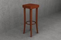 3d model 80cm wooden cafe stool