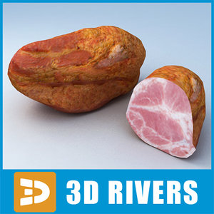 3d ham meat cooked