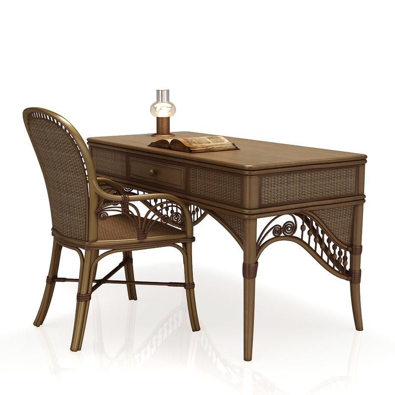 rattan table desk chair 3d 3ds