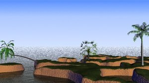 small coastal terrain palm trees 3d max