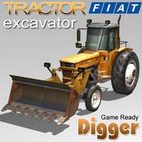 3d model of tractor excavator fiat