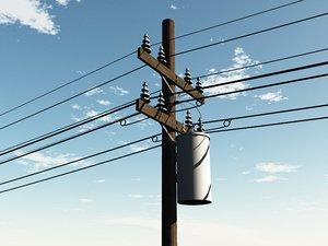 power utility poles 3d 3ds