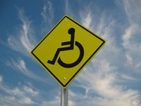 wheelchair crossing street sign max
