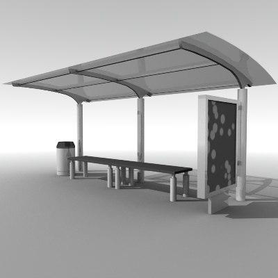 3d bus stop street city model