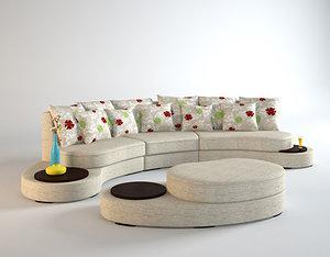 3d model curved sofa interior