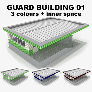 3d guard building 01 model