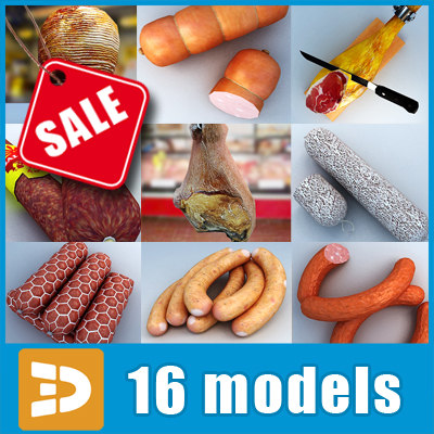 ham meat supermarket large 3d model