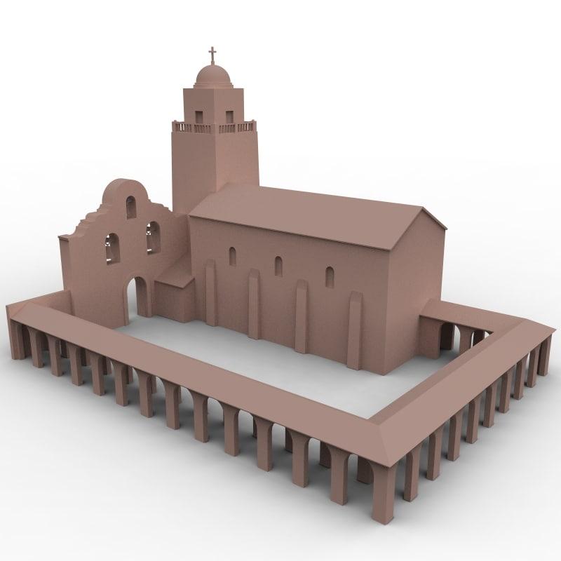 3d spanish mission model