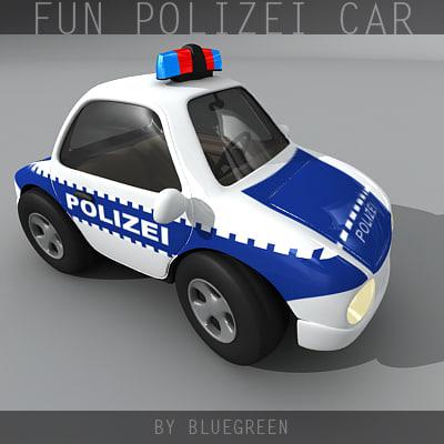 cartoon polizei car 3d max