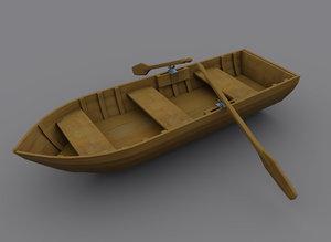 wood row boat 3d model