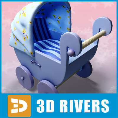 3d toy baby carriage model