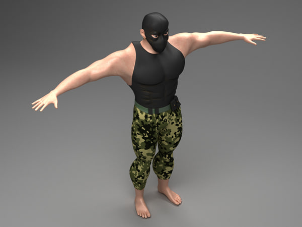 cartoon character athlete 3d max
