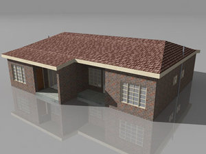 free duplex house single story 3d model