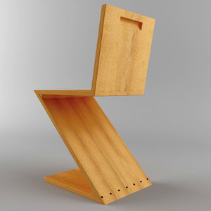 3d zig-zag chair
