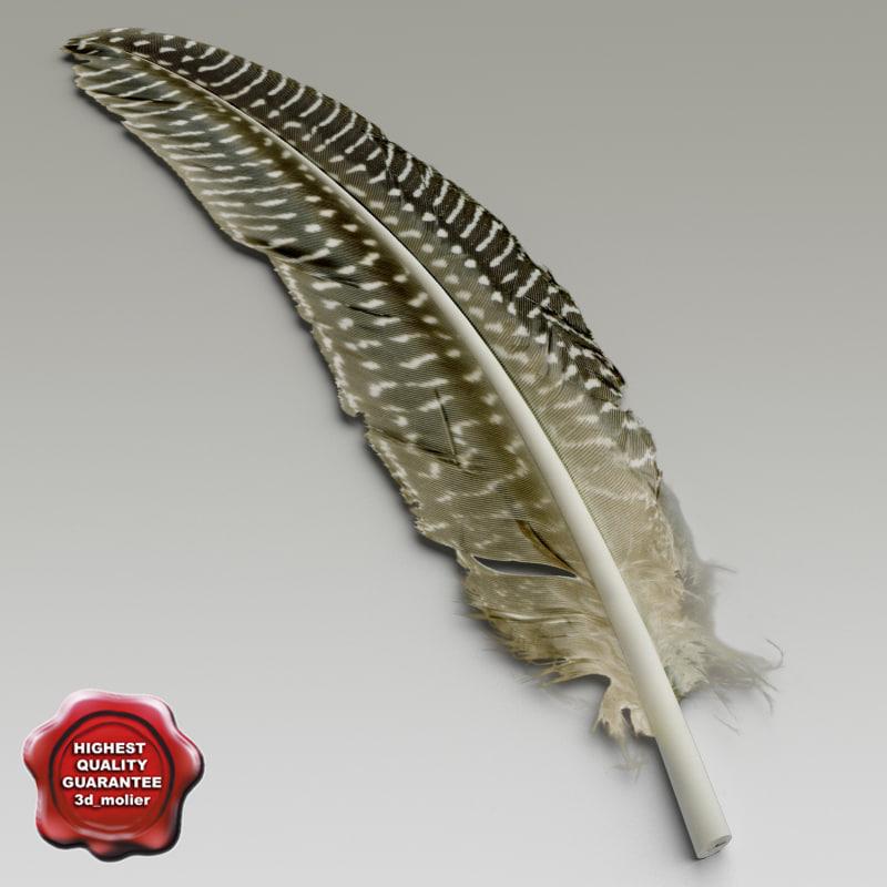 3d model bird feather v3
