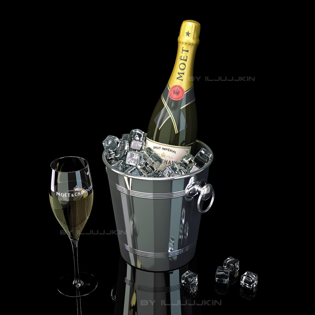3d bottle champagne moet chandon model