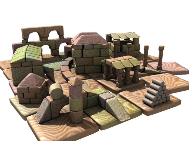 3d model blocks building