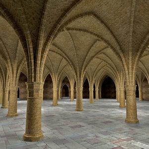 ancient hall 3d model