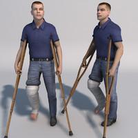 3d model injured man