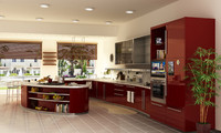 Kitchen, modern, red  - Interior
