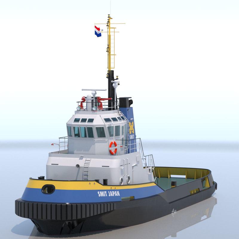 3d model of harbour tug smit japan