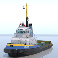 3d model of harbour tug smit japan