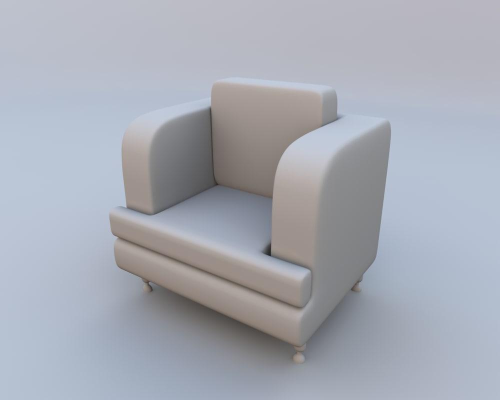 chair armchair arm obj