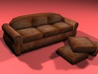 3ds max antique leather sofa