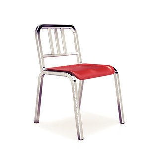 aluminum stacking chair emeco 3d model