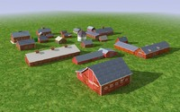 Group of 3d Model old wood barns