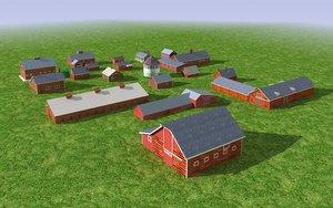 3d model group old wood barns