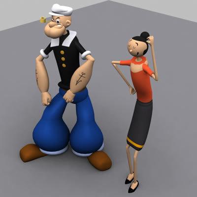 3d cartoon characters popeye man