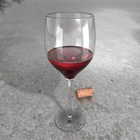 Red Wine Glass + Wine + Materials, High Resolution