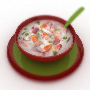 3d model food soup -