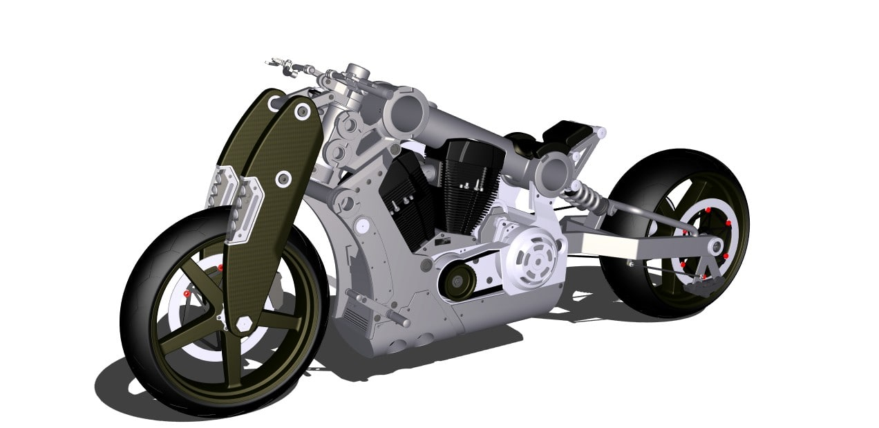 confederate fighter custom bike 3d model