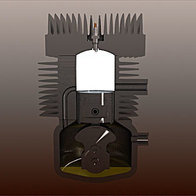 3d model 2 stroke car engine