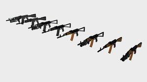 3d model ak74 s weapons
