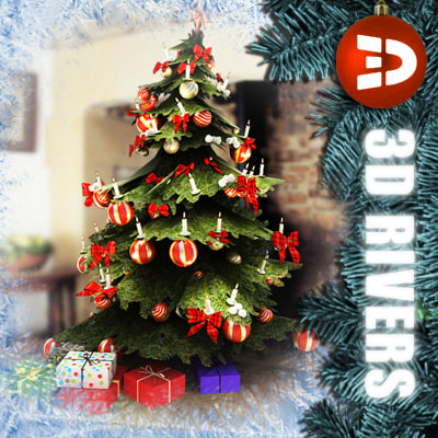 3dsmax decorated christmas tree