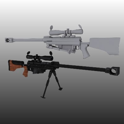 3d model hecate ii rifle
