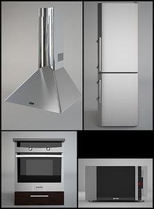 3d kitchen appliances set model