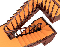 3d model of wooden stairs