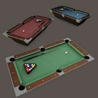 Pooltable Billiards with cue chalk and balls