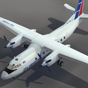 3d 3ds aircraft an-24 transport cubana